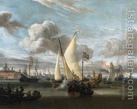 Shipping in the Harbour of Amsterdam with a Dutch East India Company yacht and a state barge in the foreground by Abraham Storck - Reproduction Oil Painting