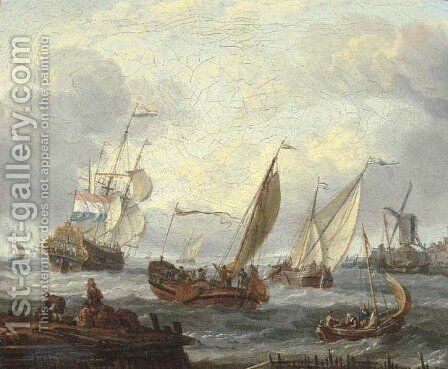 Wijdschepen setting out from a harbour by a windmill with fishermen on a jetty nearby, a man-o'-war and other shipping in the distance by Abraham Storck - Reproduction Oil Painting