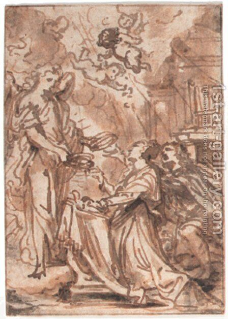 An angel presenting crowns to a kneeling couple in a church, putti above by Abraham Jansz. van Diepenbeeck - Reproduction Oil Painting