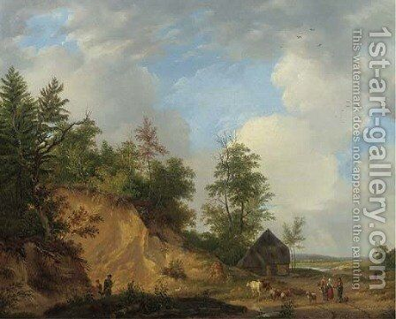 Figures conversing by a crag in a panoramic summer landscape by Abraham Johannes Couwenberg, Jzn. - Reproduction Oil Painting
