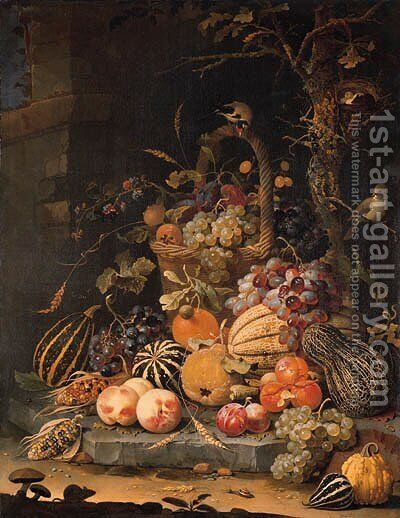 A forest floor still life with grapes, plums, rosehips, blackberries and ears of corn in a basket, with peaches, melons and corn cobs on a stone slab by Abraham Mignon - Reproduction Oil Painting