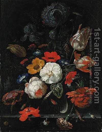 Roses, parrot tulips, poppies, morning glory, a carnation, an iris, paeonies and other flowers, with ears of corn in a glass vase with snails by Abraham Mignon - Reproduction Oil Painting
