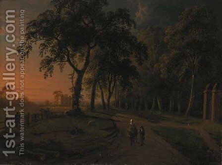 Figures on a parkland track with a country house beyond by Abraham Pether - Reproduction Oil Painting