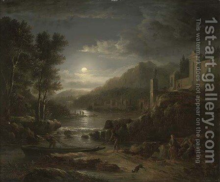 Fishermen along a river by moonlight by Abraham Pether - Reproduction Oil Painting