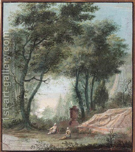 Two figures by a tomb by Abraham Rademaker - Reproduction Oil Painting