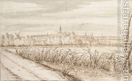 View of Gouda seen from the South East by Abraham Rutgers - Reproduction Oil Painting
