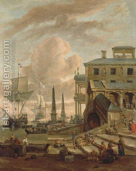 A capriccio of a Mediterranean harbour with stevedores, orientals and elegant figures, with shipping beyond by Abraham Storck - Reproduction Oil Painting