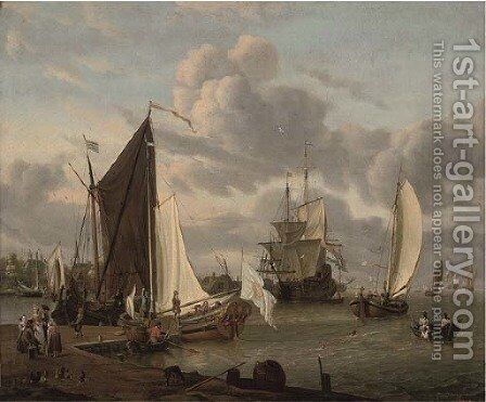 A port with smalschips and a man-o'-war, with fisherfolk and elegant company by Abraham Storck - Reproduction Oil Painting