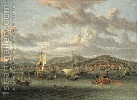 Dutch shipping off the Bay of Smyrna with a state barge by Abraham Storck - Reproduction Oil Painting