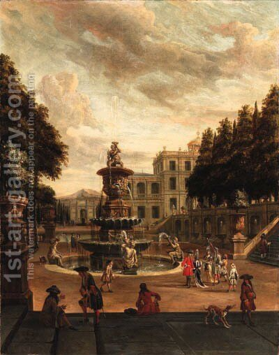 Elegant figures promenading in the grounds of a villa by Abraham Storck - Reproduction Oil Painting