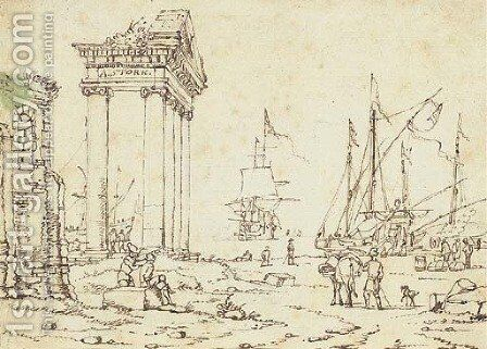 Figures among classical ruins, ships in a port seen beyond by Abraham Storck - Reproduction Oil Painting