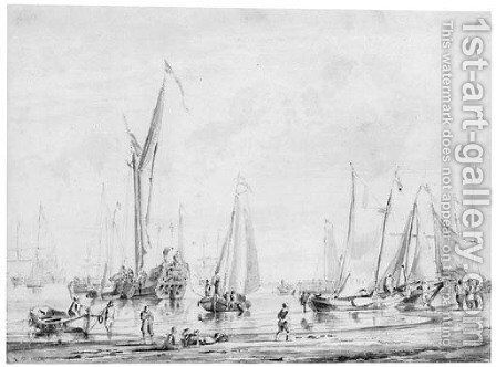 Sailing vessels moored off a beach, with figures unloading small boats by Abraham Storck - Reproduction Oil Painting