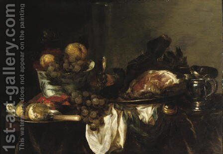 A blue and white porcelain bowl with fruit by Abraham Hendrickz Van Beyeren - Reproduction Oil Painting