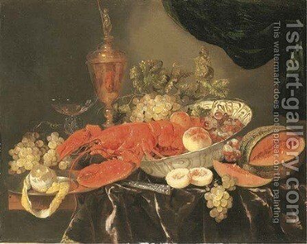 A lobster with grapes and a peach in a Wan-li 'kraak' porselein bowl, a silver-gilt cup and cover, a facon-de-Venise wine glass, a melon, a knife by Abraham Hendrickz Van Beyeren - Reproduction Oil Painting