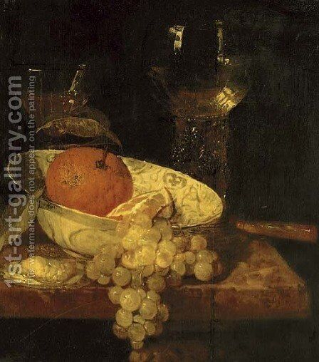 A roemer and a facon de Venise, oranges in a Wan-Li kraak porcelain bowl, an oyster, grapes and a knife on a table by Abraham Hendrickz Van Beyeren - Reproduction Oil Painting