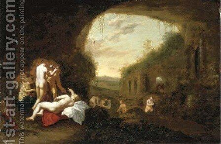 Diana and her nymphs bathing by Abraham van Cuylenborch - Reproduction Oil Painting