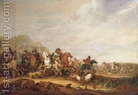 A cavalry skirmish by Abraham van der Hoef - Reproduction Oil Painting