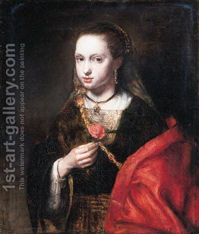 A young woman, small half-length, in a brown dress with a red mantle, a rose in her right hand by Abraham van Dijck - Reproduction Oil Painting