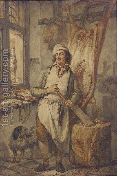 A butcher at his block, a side of beef to the right by Abraham van, I Strij - Reproduction Oil Painting