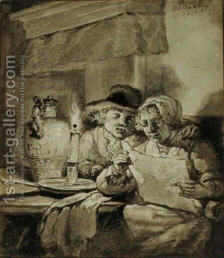 A couple reading by candlelight by Abraham van, I Strij - Reproduction Oil Painting