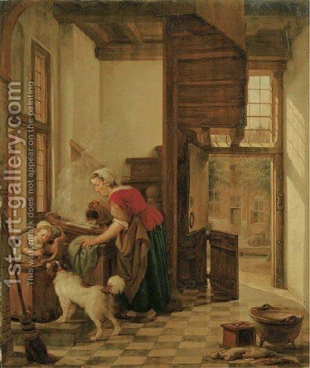 An interior with a child seated in a high chair teasing a dog, a servant washing by the window behind her by Abraham van, I Strij - Reproduction Oil Painting