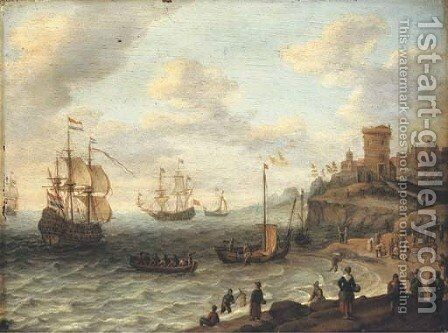 A coastal landscape with shipping and fishermen selling their catch, a fortified settlement on the cliffs beyond by Abraham Willaerts - Reproduction Oil Painting