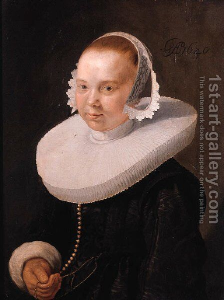 Portrait of a young woman, half length, wearing a black dress with molensteenkraag, lace cuffs and bonnet by Abraham Willaerts - Reproduction Oil Painting