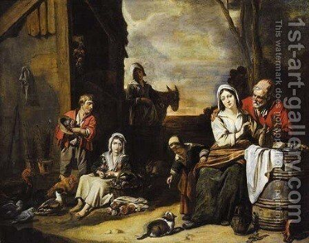 A peasant family in a yard by Abraham Willemsens - Reproduction Oil Painting
