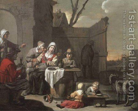 The courtyard of a country inn with peasants eating and drinking by Abraham Willemsens - Reproduction Oil Painting