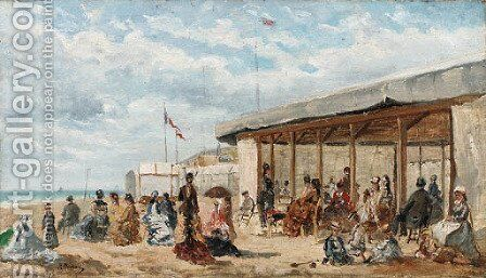 On the beach by Abraham-Leo-Paul Rossert - Reproduction Oil Painting