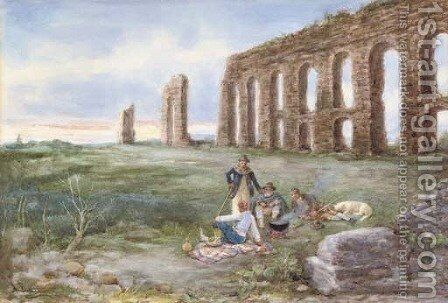 Lunchtime by an ancient aqueduct by A Buzzi - Reproduction Oil Painting