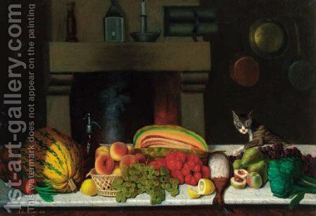 A selection of fruit and vegetables on a marble ledge in a kitchen, a cat alongside by Achille Ernest Mouret - Reproduction Oil Painting