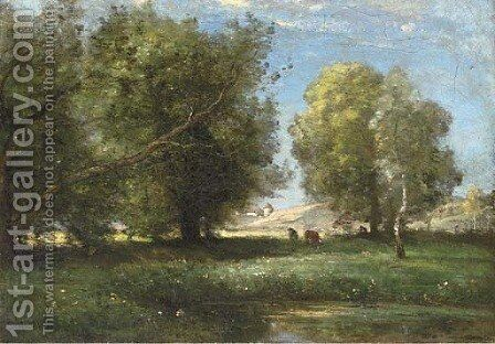 Cattle in a sunlit meadow by Achille Francois Oudinot - Reproduction Oil Painting
