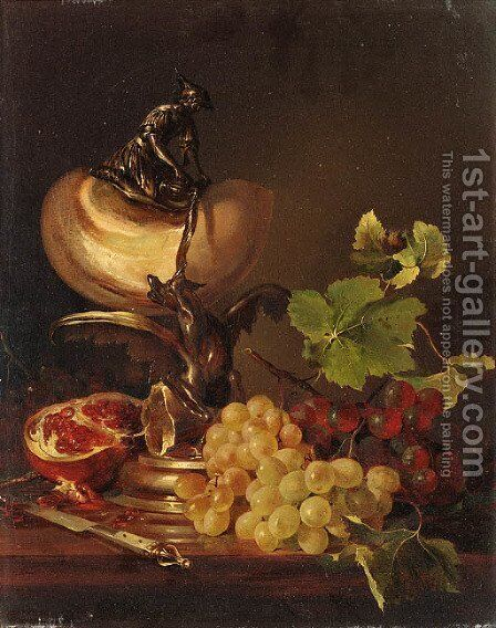 Still life with grapes, pomegranate and a nautilus cup by Adalbert Schaffer - Reproduction Oil Painting