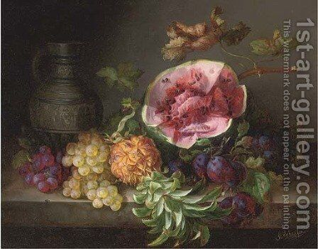 A watermelon and other fruit by an ornamental ewer by Adalbert Schaffer - Reproduction Oil Painting
