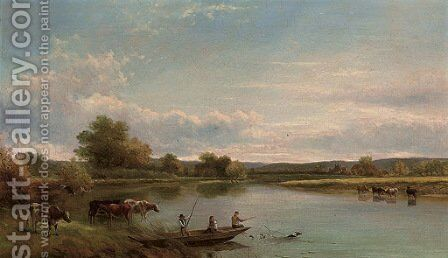Figures in a punt, with cattle watering by Adam Barland - Reproduction Oil Painting