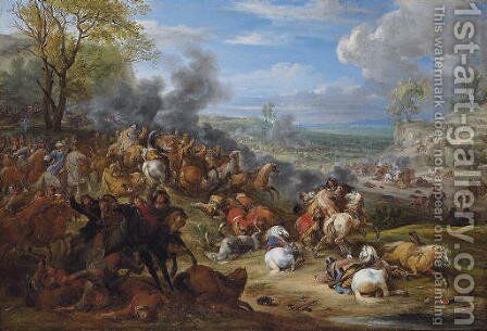 French troops in battle in an extensive landscape by Adam Frans van der Meulen - Reproduction Oil Painting