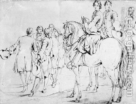 Two mounted Officers, a third behind and a group of five men conferring, some gesturing to the left by Adam Frans van der Meulen - Reproduction Oil Painting