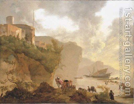 A coastal landscape with stevedores unloading a ship, a castle beyond by Adam Pynacker - Reproduction Oil Painting