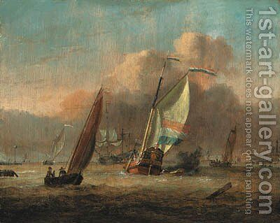 Dutch shipping off Amsterdam by Adam Silo - Reproduction Oil Painting