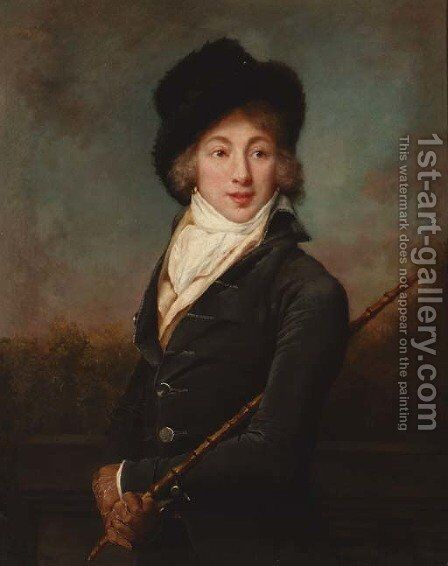 Portrait of Auguste Vestris, three-quarter-length, in a dark grey velvet jacket and a fur hat, a cane in his right hand by Adele Romany - Reproduction Oil Painting
