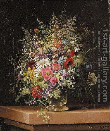 Wild flowers in a glass vase by Adelheid Dietrich - Reproduction Oil Painting