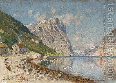 A Norwegian fjord by Adelsteen Normann - Reproduction Oil Painting