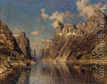 A Norwegian fjord 2 by Adelsteen Normann - Reproduction Oil Painting