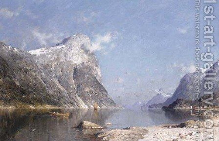 Boats on a Norwegian Fjord by Adelsteen Normann - Reproduction Oil Painting