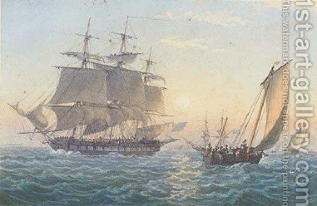A Royal Naval frigate heaving-to upon her arrival at Spithead by Admiral Sir Thomas Bladen Capel - Reproduction Oil Painting