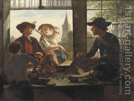 Tailor made a tailor in Kruiningen, Zeeland by Adolf Alexander Dillens - Reproduction Oil Painting