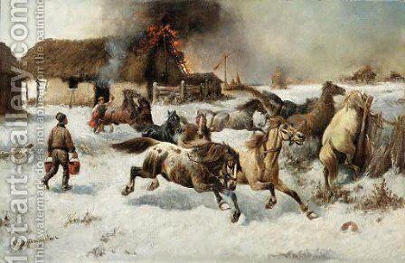 Fire on the farm by Adolf Baumgartner-Stoiloff - Reproduction Oil Painting