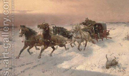 Running from the wolves by Adolf Baumgartner-Stoiloff - Reproduction Oil Painting