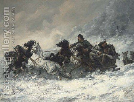 Running from the wolves 2 by Adolf Baumgartner-Stoiloff - Reproduction Oil Painting